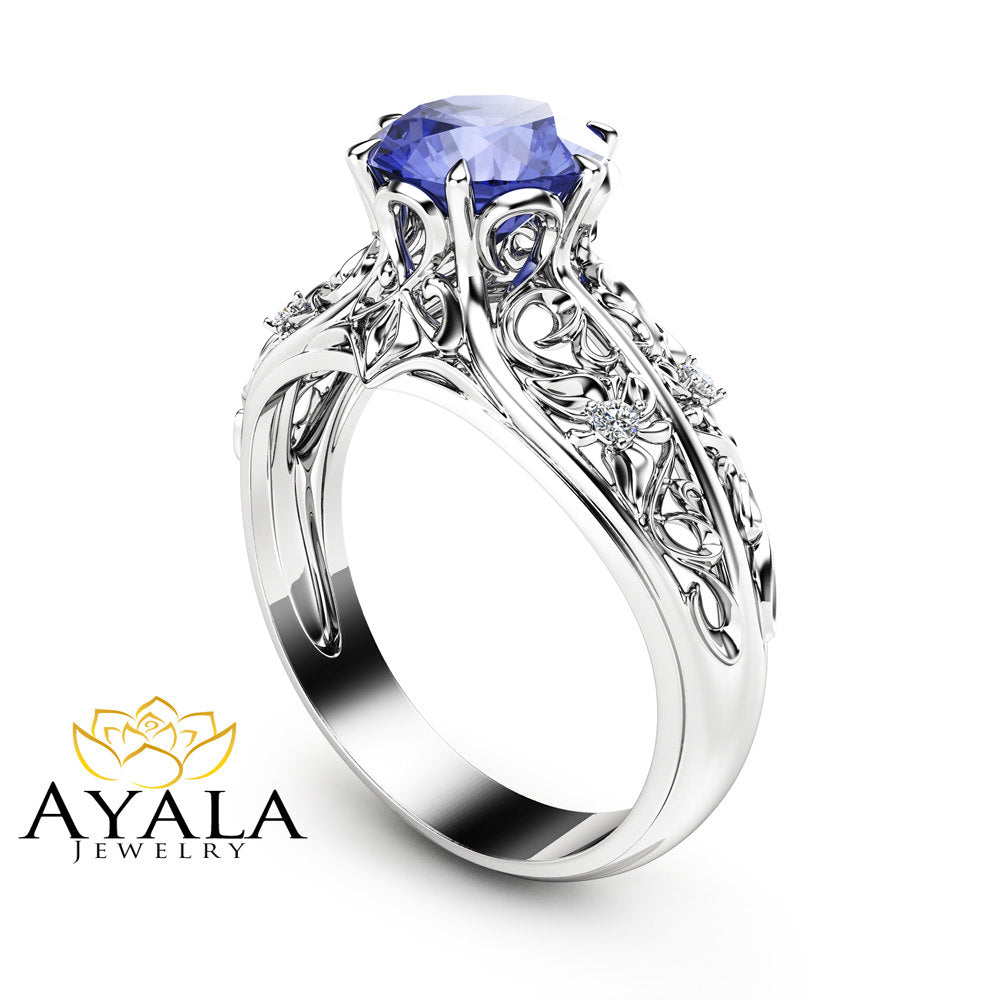 tanzinate in white bypass and gold engagement diamond rings ring double tanzanite