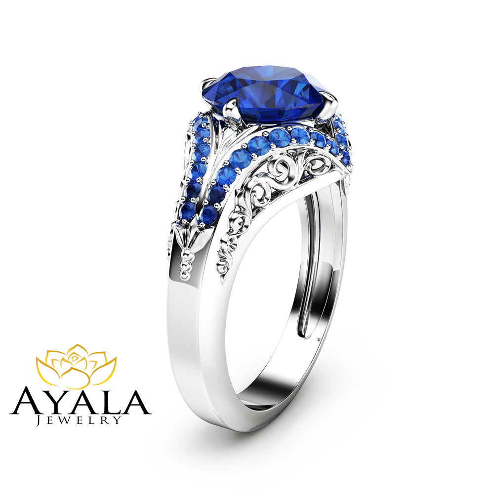 Art  Deco Styled Blue Sapphire Engagement Ring Unique 2 Carat Sapphire Ring in 14K White Gold Filigree Design Engagement Ring