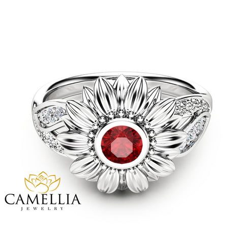 Unique Ruby Engagement Ring Natural Ruby Ring Unique Engagement Ring 14K White Gold Sunflower Ring