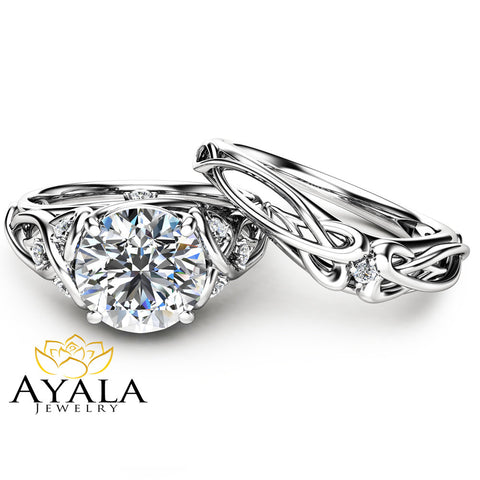 14K White Gold Unique Engagement Rings 2 Carat Moissanite Ring Set Unique Design Engagement Ring Set