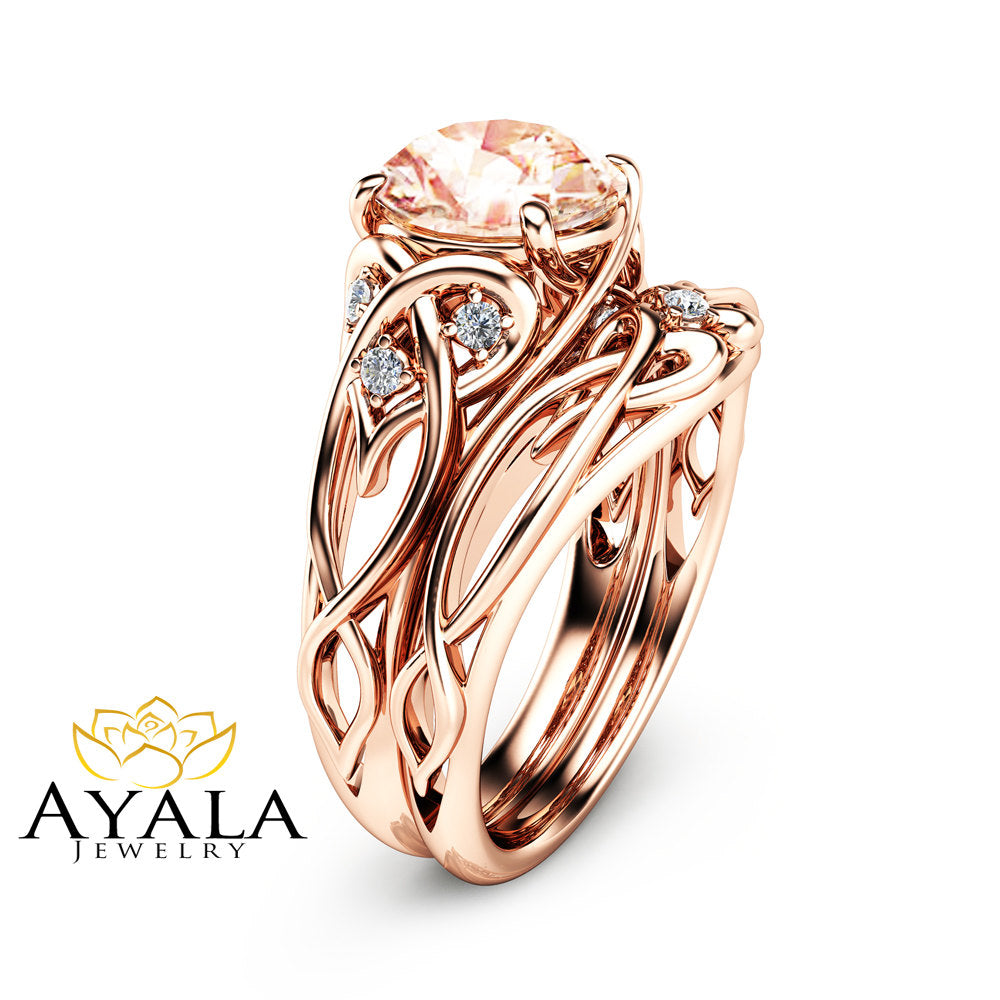 filigree jewellery morganite in unique design set gold corners wedding rose rings classy ring