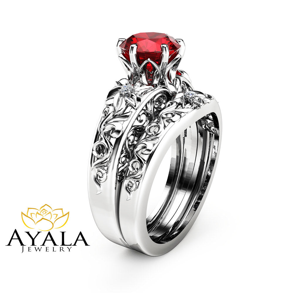 Natural Ruby Engagement Ring Set Wedding Ruby Ring With Matching Band 14K  White Gold Ruby Rings