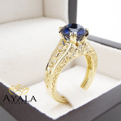 Blue Sapphire Engagement Ring Unique Filigree 14K Yellow Gold Ring 2 Carat Genuine Sapphire Diamond Ring