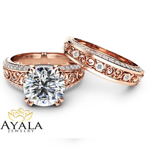 2 Carat Moissanite Engagement Ring Set Forever Brilliant Moissanite Bridal Set Unique 14K Rose Gold Engagement Rings