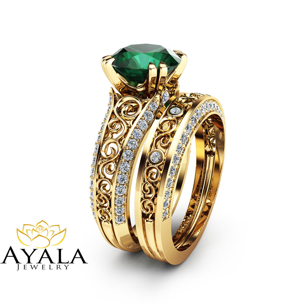 2 Carat Emerald Engagement Ring Set Unique 14K Yellow Gold Rings ...