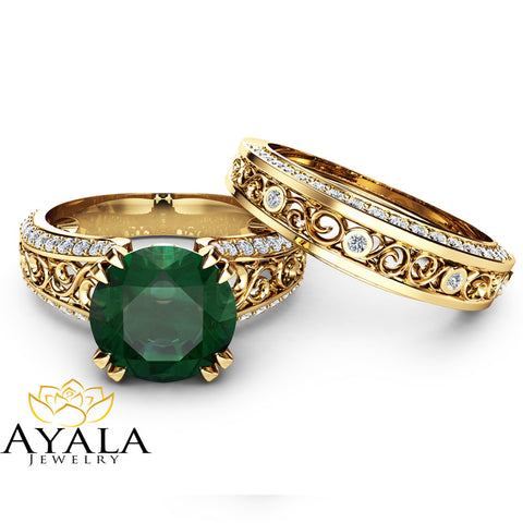 2 Carat Emerald Engagement Ring Set Unique 14K Yellow Gold Rings Emerald Bridal Set Filigree Engagement Rings