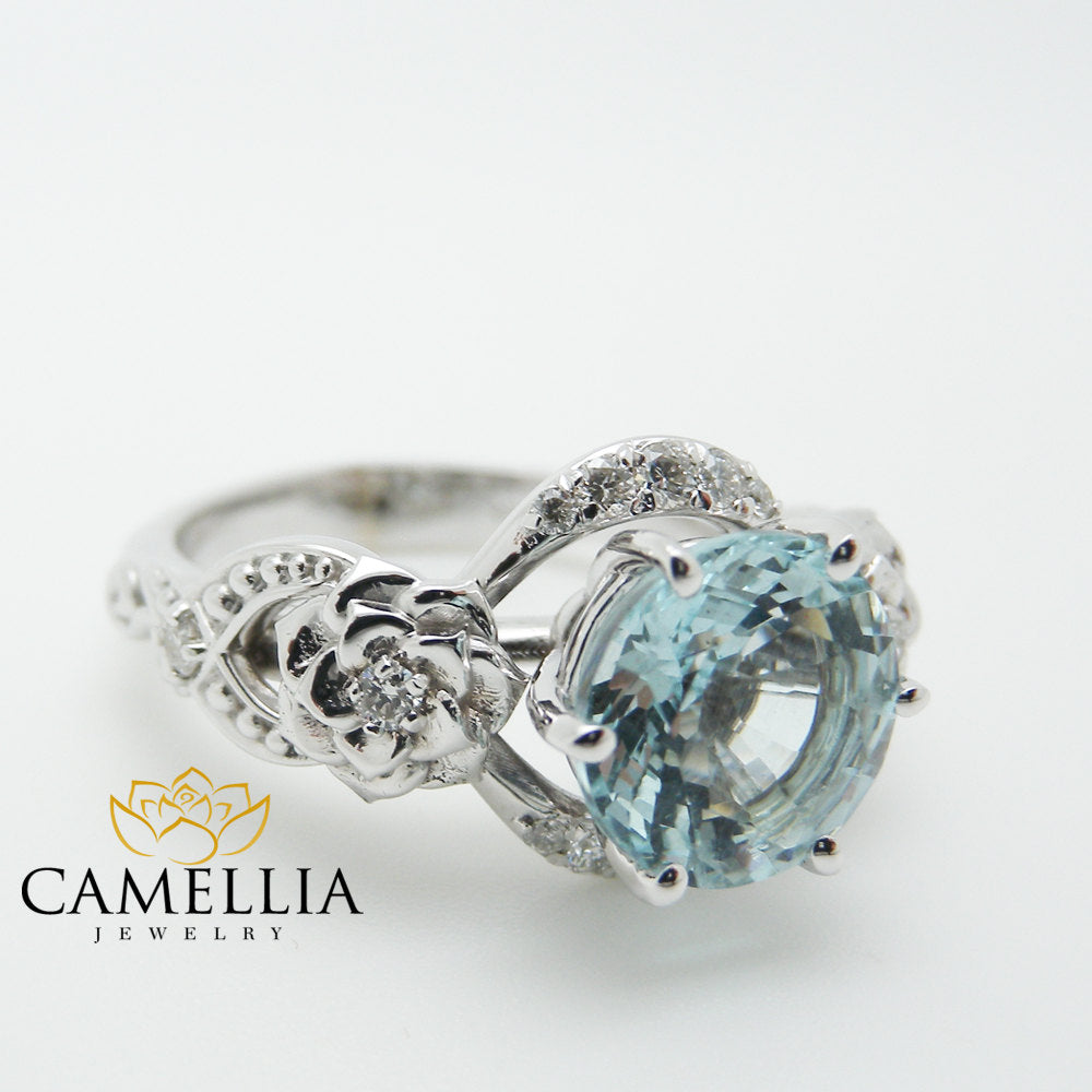 diamond engagement aqua cocktail shank split double rings halo ring blue aquamarine