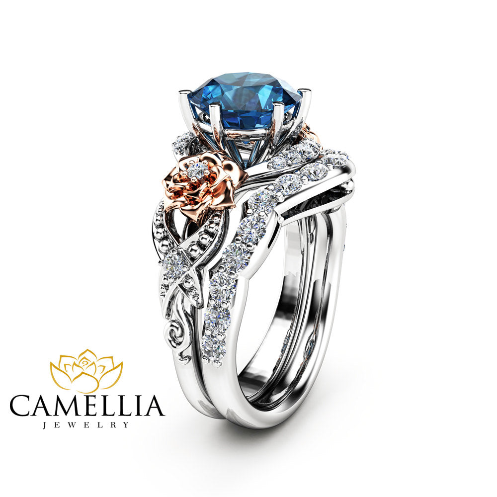 ring gold topaz rings three blue stone dainty