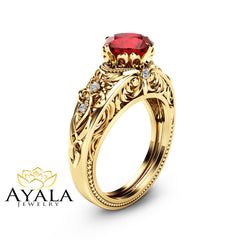 Ruby Vintage Engagement Ring Natural Ruby Custom Ring 14K Yellow Gold Vintage Engagement Ring