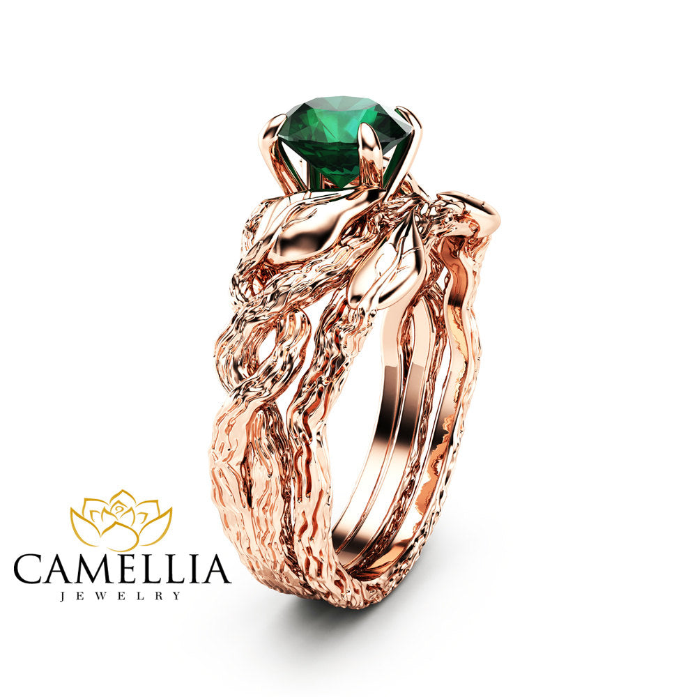 emerald rings halo engagement bridal ring
