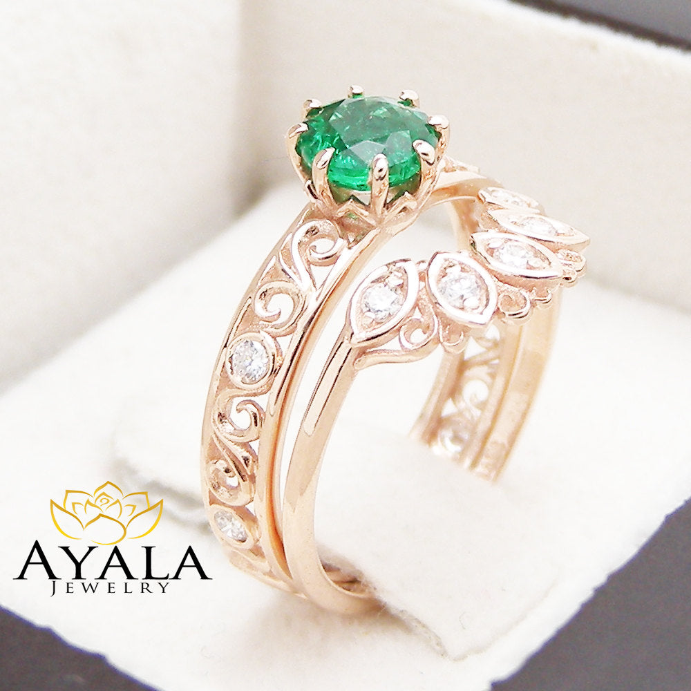 Filigree Design Emerald Wedding Ring Set in 14K Rose Gold Unique