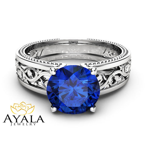 1.5ct Blue Sapphire Engagement Ring Unique Filigree Engagement Ring 14K White Gold Natural Sapphire Ring