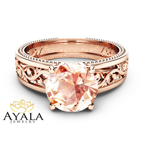 1.5ct Morganite Engagement Ring 14K Rose Gold Morganite Ring Unique Filigree Engagement Ring