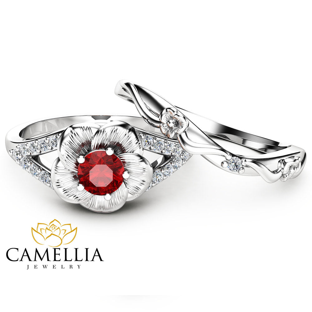Ruby Engagement Ring Set Unique Flower Rings 14k White Gold Ruby