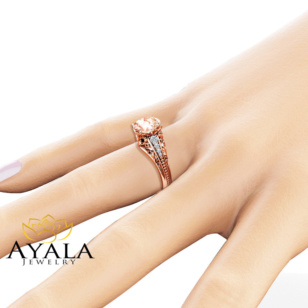 Unique Morganite Engagement Ring Unique 14K Rose Gold Ring Diamonds Morganite Engagement Ring
