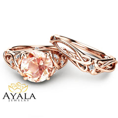 2 Carat Morganite Engagement Rings 14K Rose Gold Ring Set  Unique Engagement Rings Rose Gold  Morganite Rings