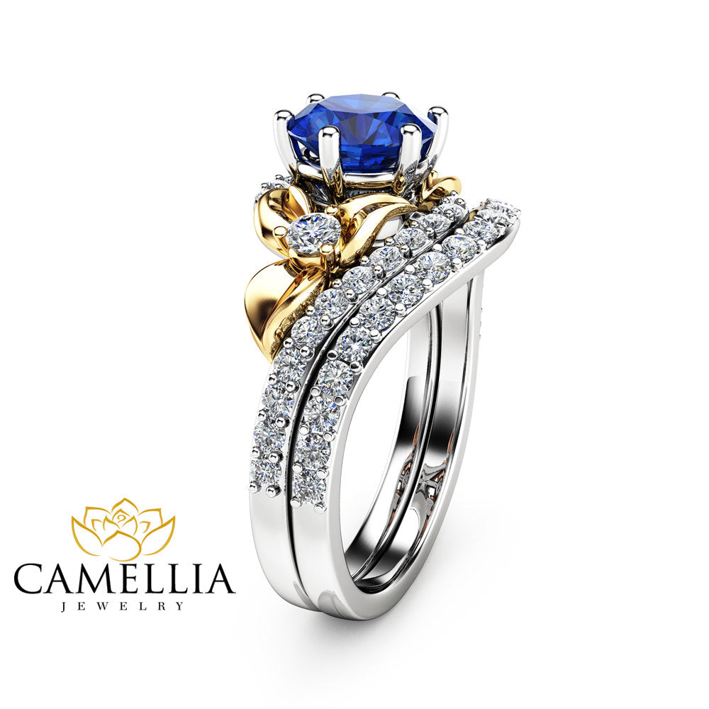 Sapphire Unique Engagement Ring Set 14K Two Tone Gold Engagement Rings Unique Natural Blue Sapphire Ring