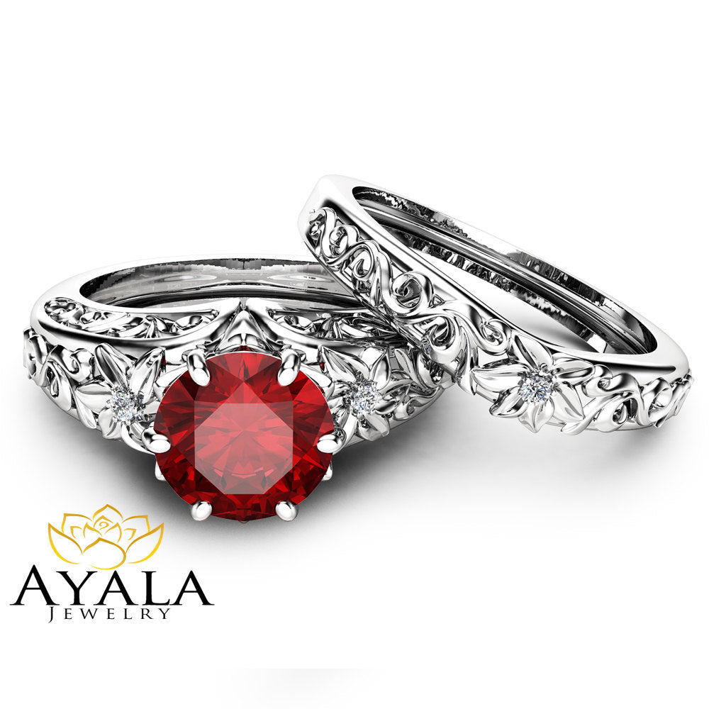 Natural Ruby Engagement Ring Set Wedding Ruby Ring with Matching