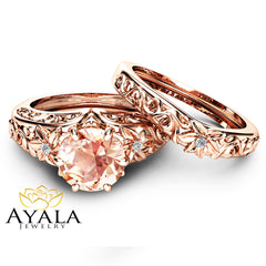 Morganite Wedding Ring Set 14K Rose Gold Morganite Rings Unique Engagement Rings Rose Gold Wedding Rings