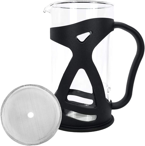 KONA French Press Replacement Glass Kit, Includes Spare Glass Carafe With Black Plastic Frame And Mesh Sceen Filter (8 Cup, 1.0 Liter, 34 Ounce)