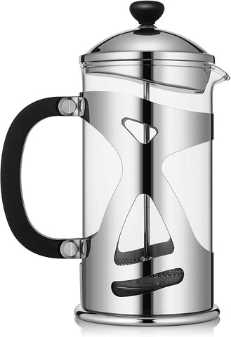 KONA French Press Coffee Maker Large Comfortable Handle & Glass Protecting Stylish Stainless Steel Frame 34 oz
