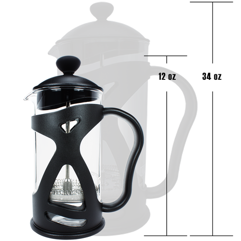 KONA French Press Small Single Serve Coffee and Tea Maker, Black 12 oz