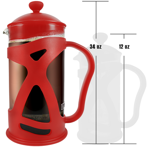 Image of KONA French Press Red Coffee Maker With Reusable Stainless Steel Filter, Large Comfortable Handle & Glass Protecting Durable Shell
