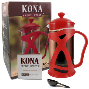 KONA French Press Red Coffee Maker With Reusable Stainless Steel Filter, Large Comfortable Handle & Glass Protecting Durable Shell