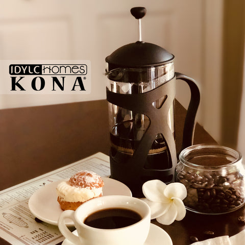 Image of KONA French Press Coffee Maker With Reusable Stainless Steel Filter, Large Comfortable Handle & Glass Protecting Durable Black Shell