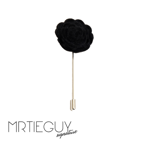 BLACK FLOWER LAPEL PIN - MR TIE GUY - For The Daring & Dapper™