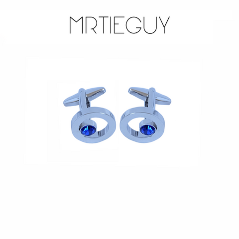BLUE GEM SILVER CUFFLINKS - MR TIE GUY - For The Daring & Dapper™