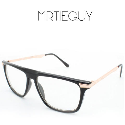 UNISEX BLACK AND GOLD FRAME GLASSES - MR TIE GUY - For The Daring & Dapper™