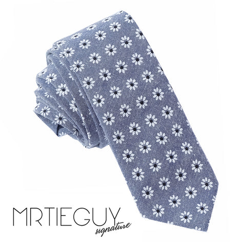 GREY DAISY TIE - MR TIE GUY - For The Daring & Dapper™