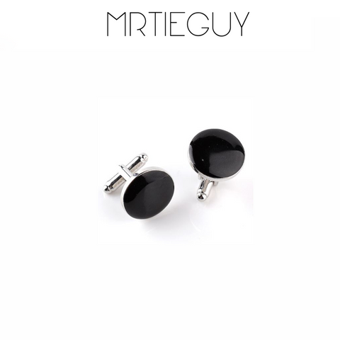 GLOSS BLACK ROUND CUFFLINKS - MR TIE GUY - For The Daring & Dapper™