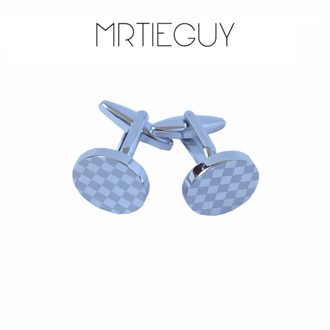 ROUND SILVER CHECKERED CUFFLINKS - MR TIE GUY - For The Daring & Dapper™