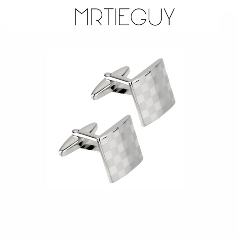 SILVER CHECKERED CUFFLINKS - MR TIE GUY - For The Daring & Dapper™