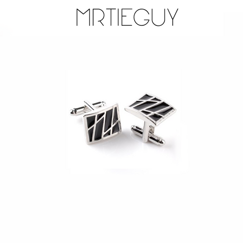 SILVER AND BLACK RECTANGLE CUFFLINKS - MR TIE GUY - For The Daring & Dapper™