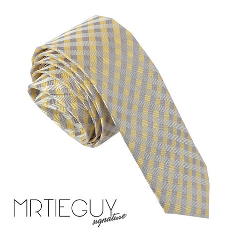 YELLOW GREY CROSSHATCH - MR TIE GUY - For The Daring & Dapper™