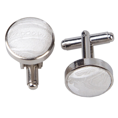 PAISLEY SILVER PLATED CUFFLINKS - MR TIE GUY - For The Daring & Dapper™
