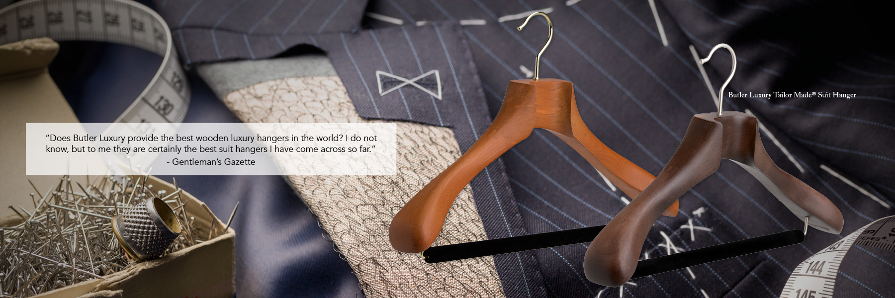Butler Luxury Men's Wood Suit Hangers