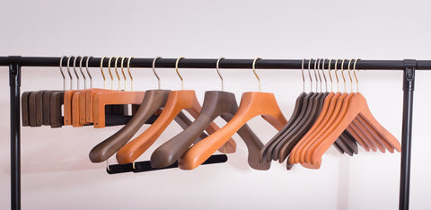 Collection of wooden hangers