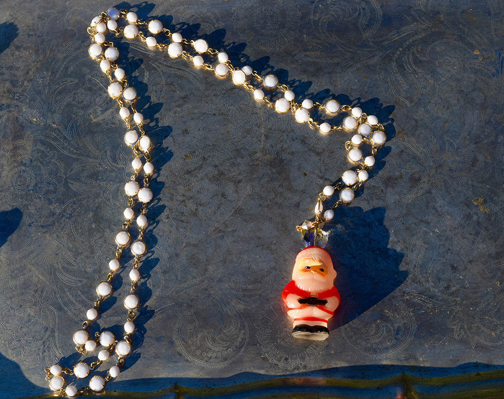 Vintage Dainty White Bead Santa Necklace
