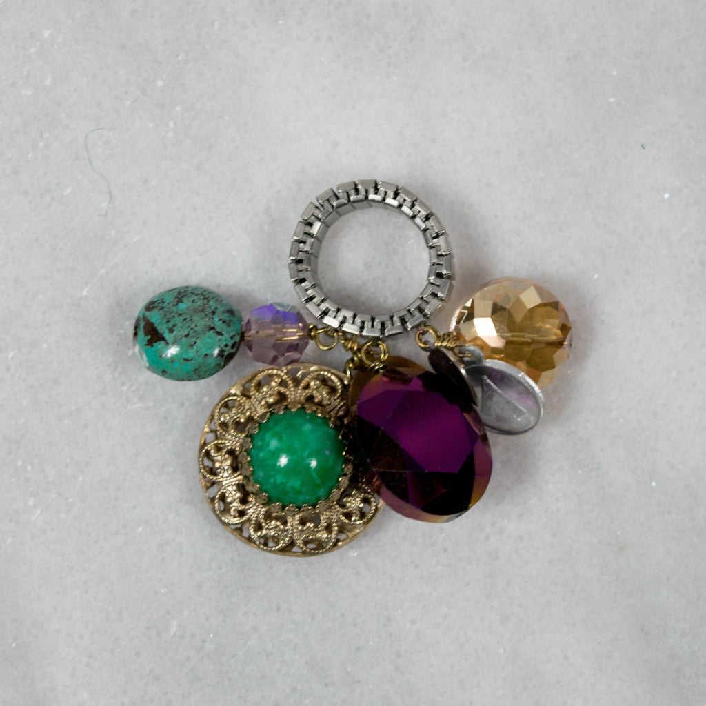 """Hippie Gypsy"" Crazy Charm Ring- Green and Gold Vintage Charm"
