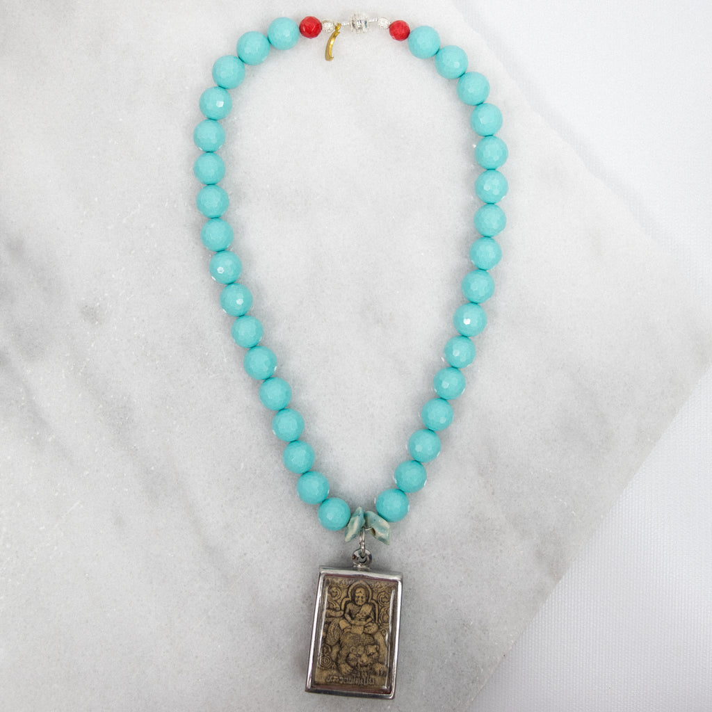 "Namaste"" Thai Clay Amulet Necklace -Tiffany Blue"
