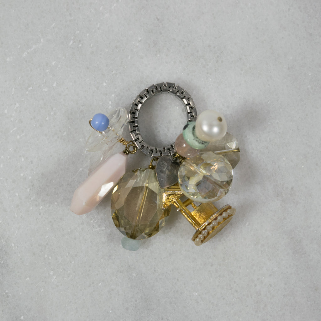 """Hippie Gypsy"" Crazy Charm Ring- Wishing Well and Glass Button"
