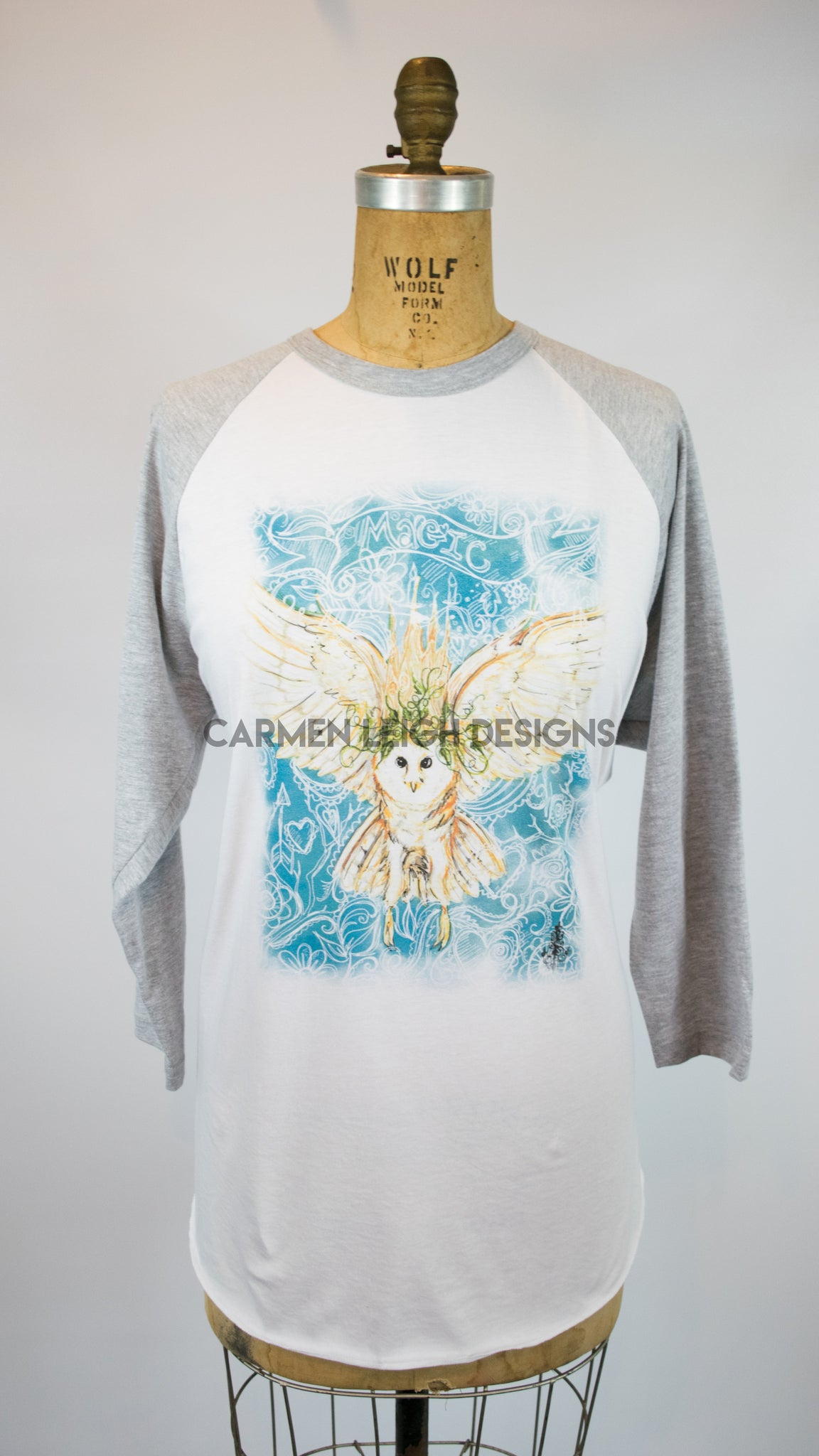 """Magical Owl"" Bespoke Baseball Tee"
