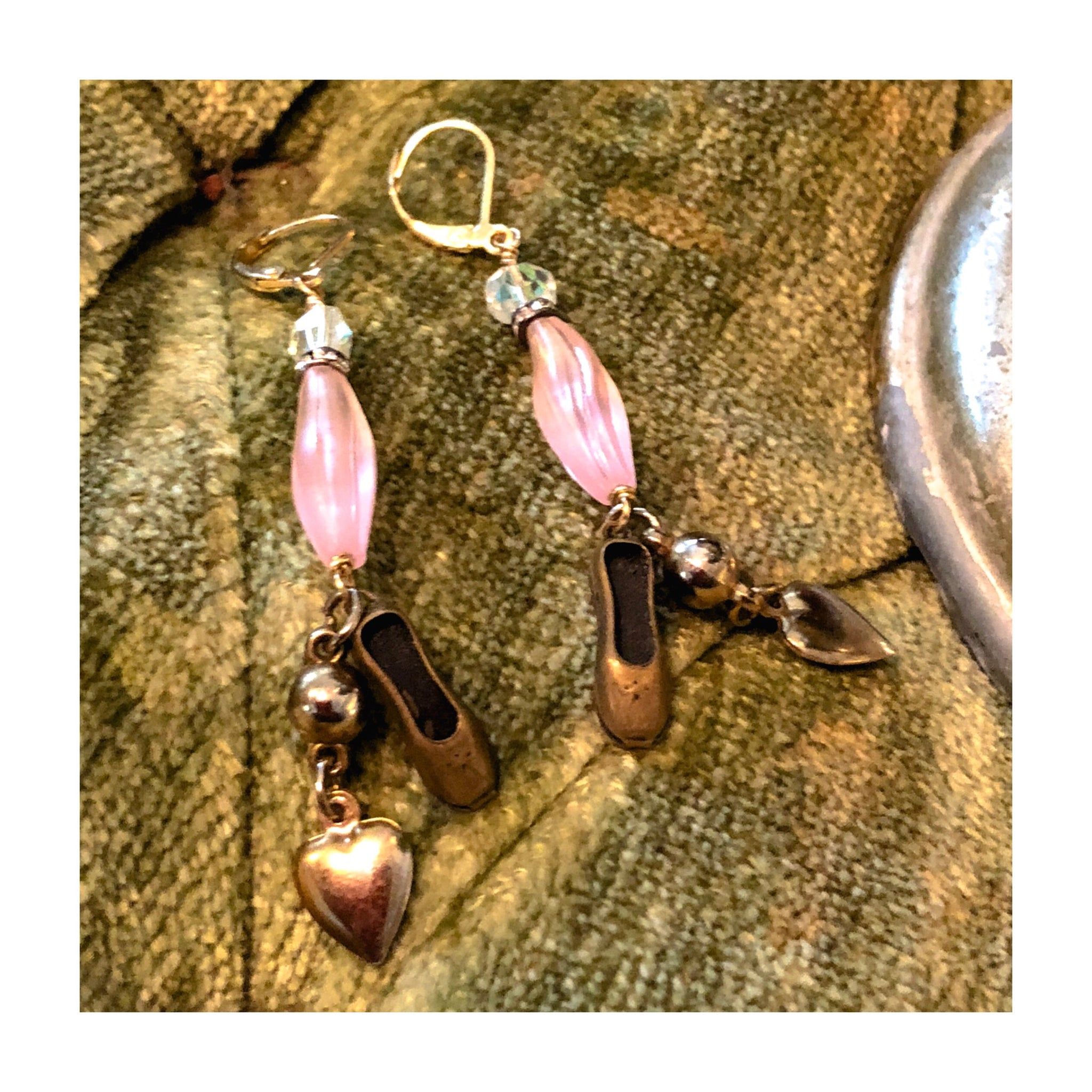 """Stardust"" Pink Ballet & Hearts Earrings"