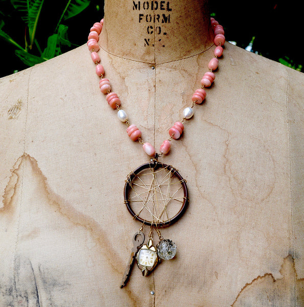 """Vintage French DreamCatcher"" Coral Necklace"