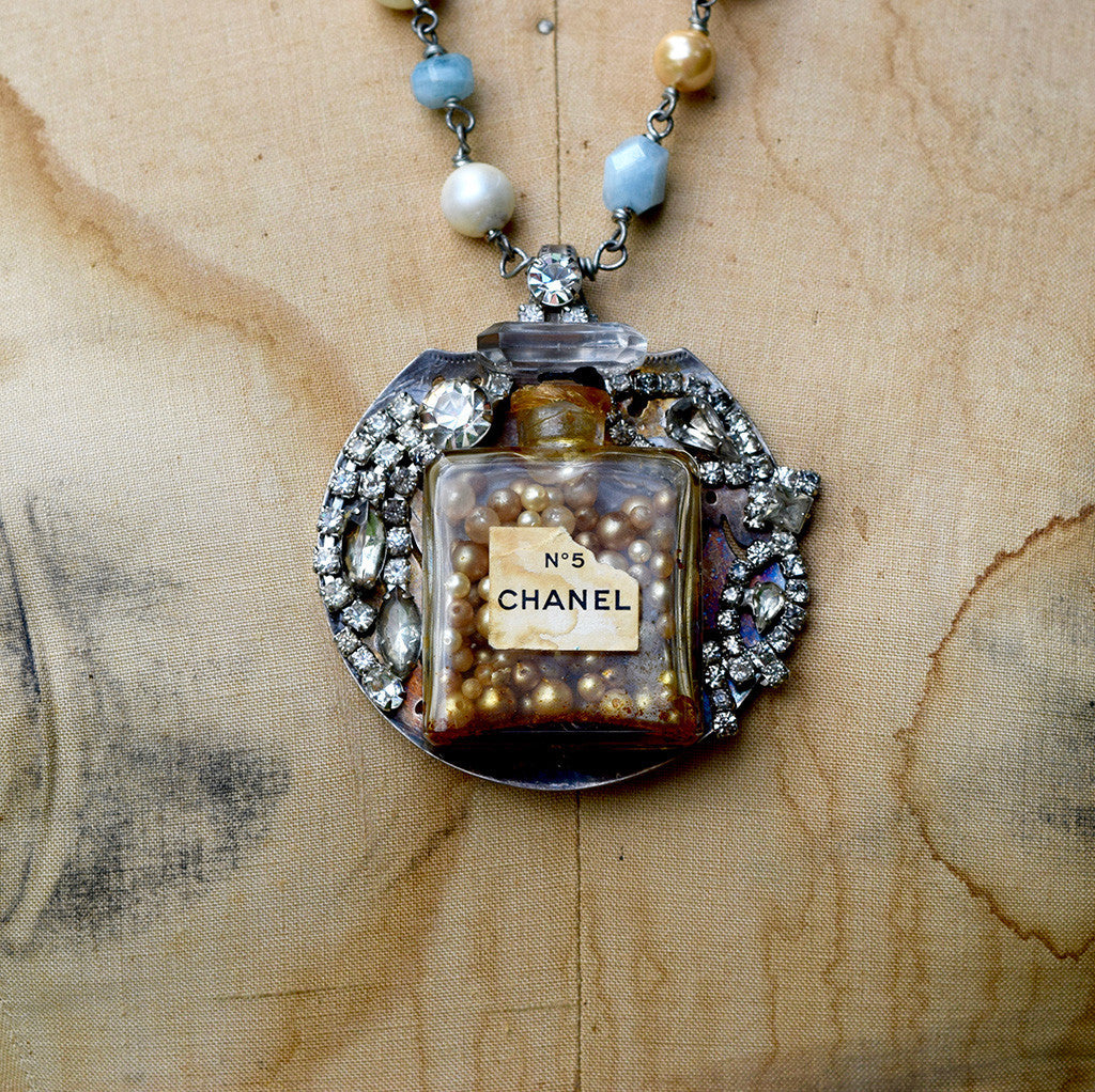 """Spoonful of Chanel No. 5"" Vintage Bottle and Rhinestone Necklace"