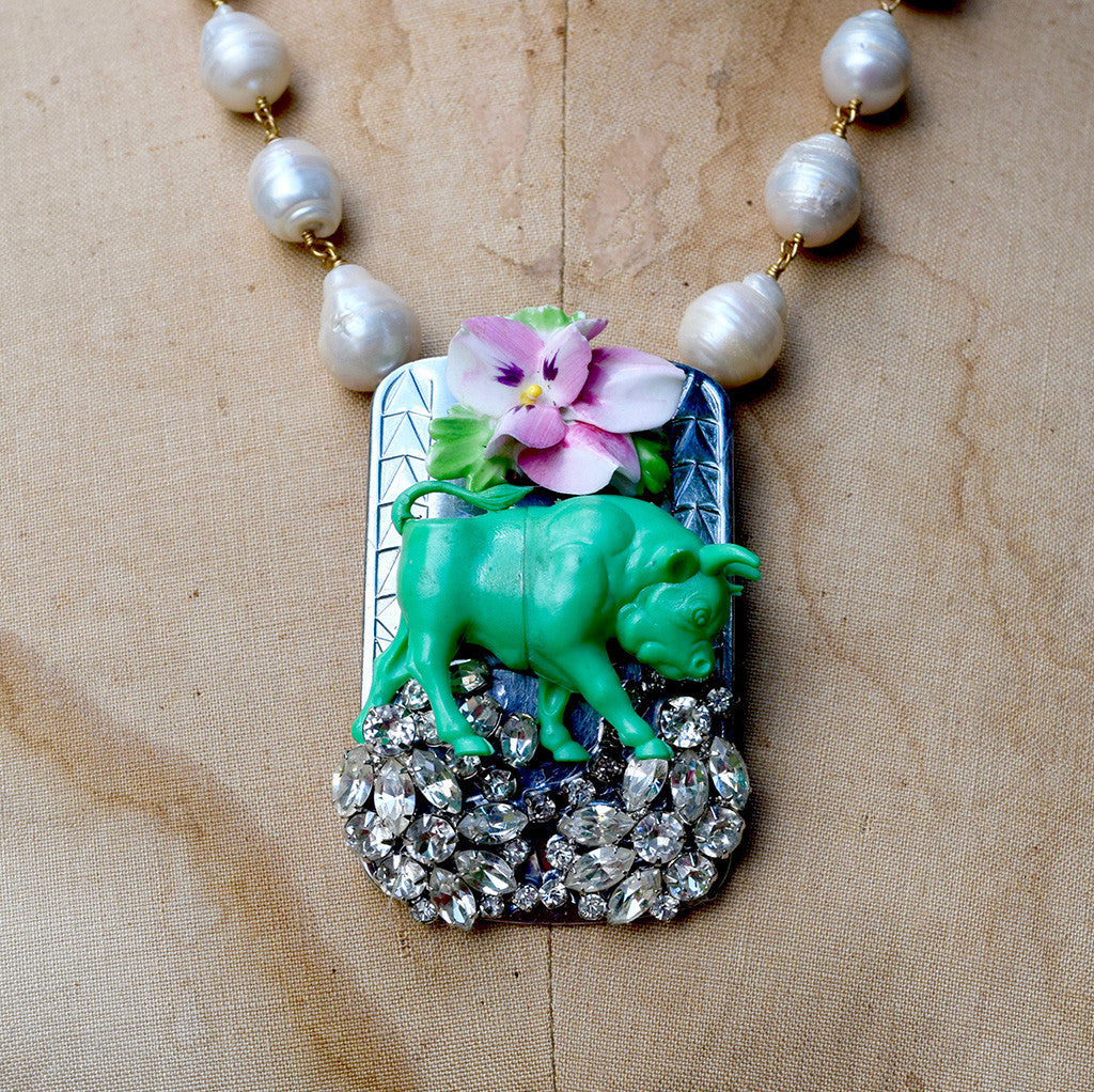 """Ferdinand the Bull"" Rhinestone Buckle Necklace"